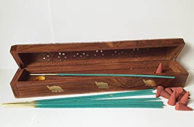 Wooden Incense Joss Stick Cone Holder smoke burner Box ash catcher + 10 INCENSE STICKS + 10 INCENSE CONES