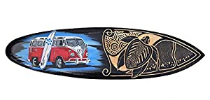 Interlifestyle Bus Surfboard aus Holz 80cm im Tribal Look Deko Surfbrett T1 T2