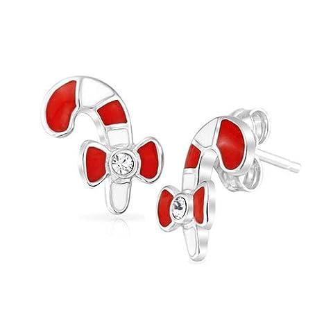 Rot Weiß Gestreifte Zuckerstange Emaille Bug Kids Bolzen Silber