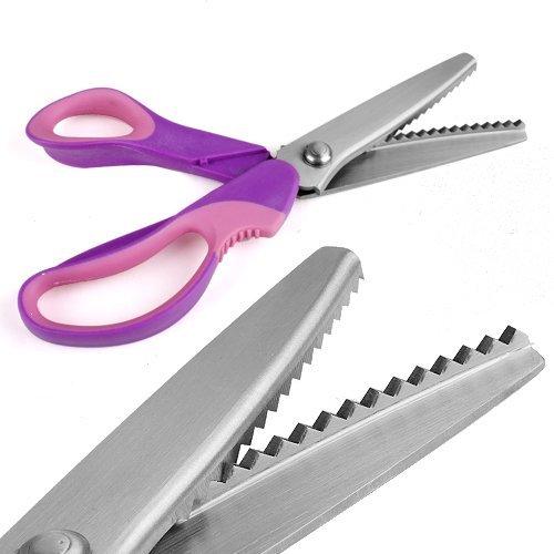 Profesional Confección tijeras dentadas Oficios Zig Zag Cut Tijeras púrpura + rosa (Multi)