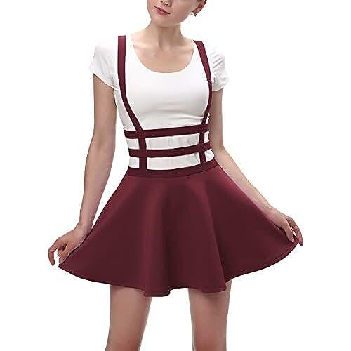 ropa primavera kawaii Urban GoCo Falda Plisada con Cintura Elástica para Mujeres