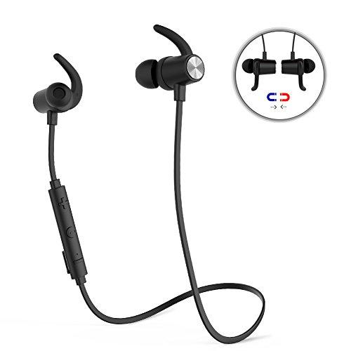 dodocool Magnetischer drahtloser Stereo-Sport In-Ear-Kopfhörer mit HD Mic CVC 6.0 Rauschunterdrückung für die meisten Bluetooth-fähigen Smart Devices (Black) (über Den Hals-bluetooth-headset)