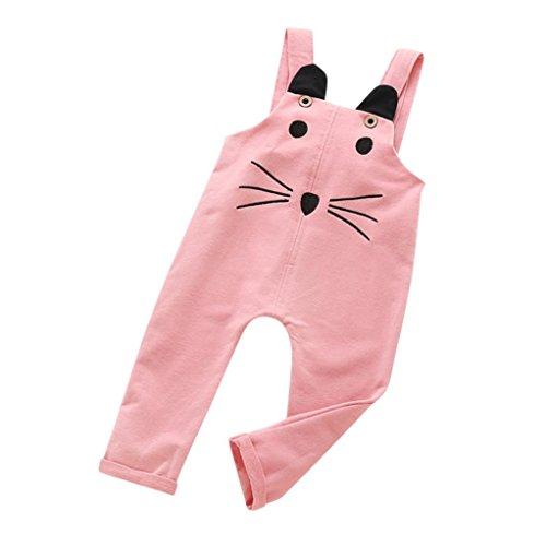 QUINTRA Kleinkind Kinder Jungen Mädchen Cartoon Katze Insgesamt Playsuits Hosen Outfits Kleidung (Rosa, 100) (Mädchen-kleidung Insgesamt)