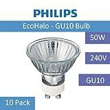 Philips, GU 10, 50-W-Halogen-Energiesparlampe, 240 V, 10er-Packung