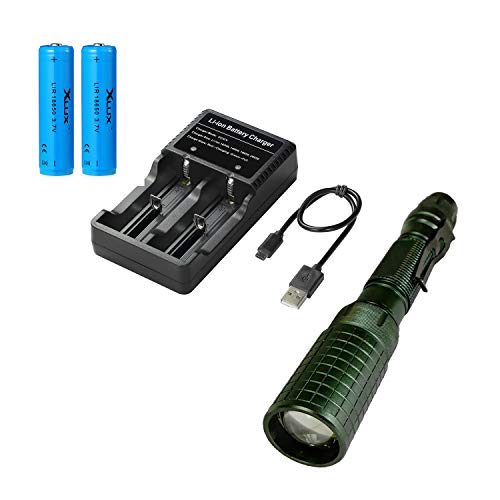 Linterna LED de alta potencia superbrillante, con baterías recargables 18650 y cargador USB