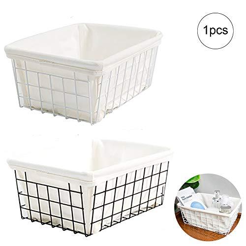 Romote 1pc Eisen-Kunst-Speicher-Korb Küche Badezimmer Kosmetik-Organisator-Speicher General Purpose übersichtliches Design Schrank-Speicher-Regal-Rack (mit Leinwand)