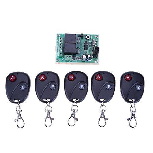 433MHZ-2-rel-inalmbrico-Mando-a-Distancia-Interruptor-5-Piezas-Dos-Teclas-mandos-a-Distancia