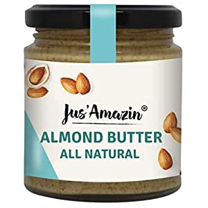 Jus' Amazin Creamy Almond Butter - Unsweetened (200g) | 25% Protein | Plant-Based Nutrition | 100% Almonds | Zero Additives | Vegan | Dairy Free | 100% Natural | Keto