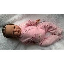 Reborn Baby Girl Muñeca ashlea, Heavy, 20cm de largo, sus raíces marrón pelo y chupete magnético–hecho de Celia