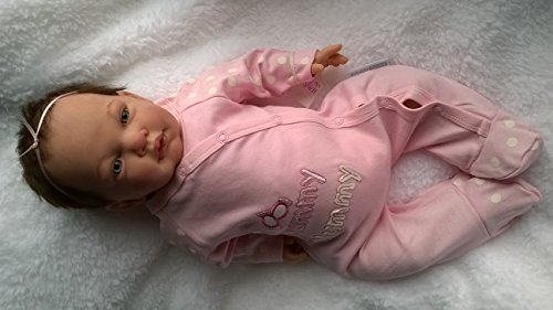 Reborn Baby GIRL Doll ASHLEA, HEAVY, 20″ long, ROOTED BROWN hair & magnetic dummy -MADE FROM CELIA