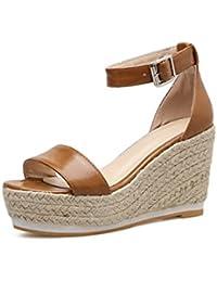 Supshark--Damen Keil Plateau Sandalen Solid Open Toe Strap High Heel Casual Sommer  Sandalen 7d9a02da48