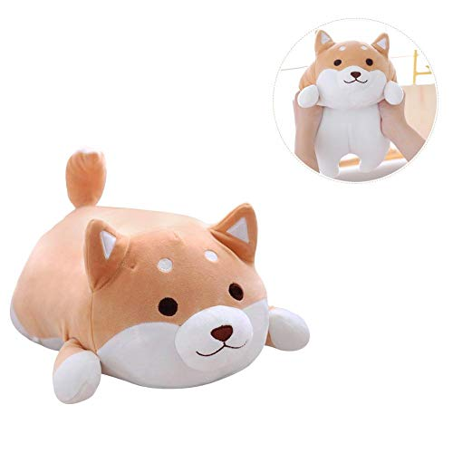 Sue pc carino cane di peluche, peluche bambola cuscino fat fart doll pillow, cute corgi akita animali di peluche bambola giocattolo regali per san valentino, natale, divano, sedia, marrone round eye