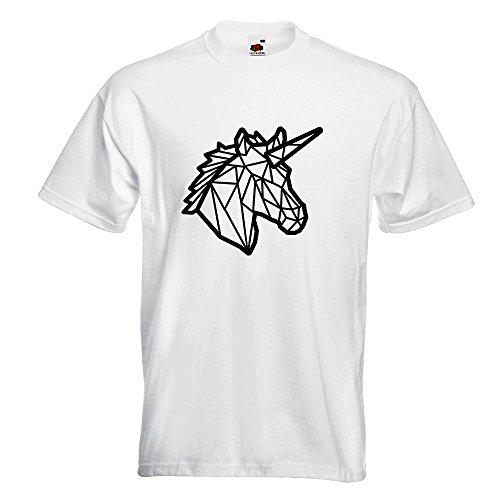 KIWISTAR - Polygon Einhorn Kopf T-Shirt in 15 verschiedenen Farben - Herren  Funshirt bedruckt
