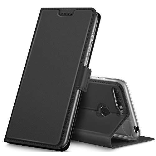 GeeMai Huawei Y6 2018 Hülle, Huawei Y6 Prime 2018 Hülle, Leder Hülle Flip Case Tasche Cover Hüllen mit Magnetverschluss Standfunktion Schutzhülle Handyhülle für Huawei Y6 2018 phone