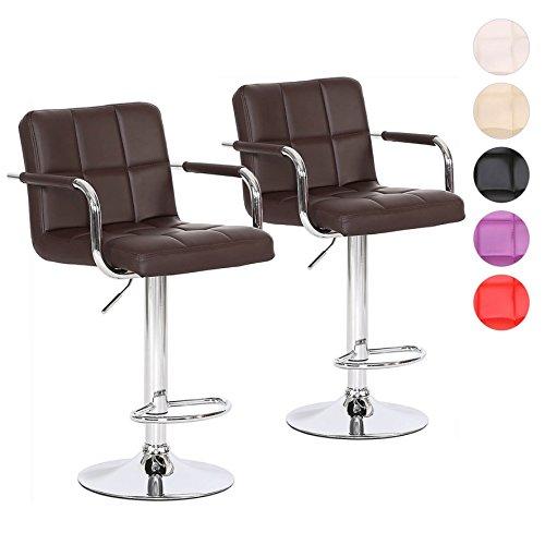 Barhocker 2er Set mit Armlehnen Tresen-Stuhl höhenverstellbar - Polsterung Kunstleder Farbwahl (braun)