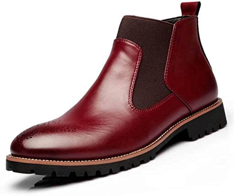 TMKOO Winter Neue Plus Samt Martin Stiefel Herren Große Leder Stiefel Herren Freizeitschuhe (Color : Rot  Größe