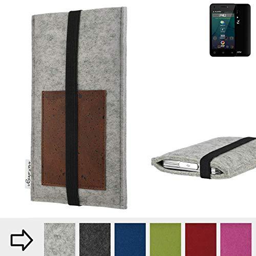 flat.design Handy Hülle Sintra für Allview P42 handgefertigte Handytasche Filz Tasche Schutz Case Kartenfach Kork
