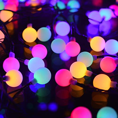 Luci Luce Stringa Luci Decorative Catene Luminose Solare LED Natale Feste Atmosfera Bianco Caldo Catena Luminosa Ideale per Decorazioni di Natale,Feste,Vacanze,Cortili,Pergole