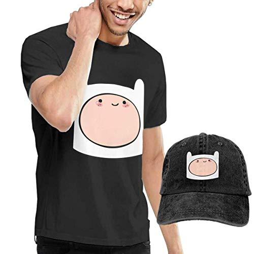 SOTTK Kurzarmshirt Herren, t-Shirts, Tee's, Adventure Time Finn Men's Cotton T-Shirt with Round Collar with Adjustable Baseball Cap (Finn Hut Kostüm)