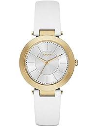 DKNY  NY2295 - Reloj de cuarzo con correa de acero inoxidable para mujer, color blanco