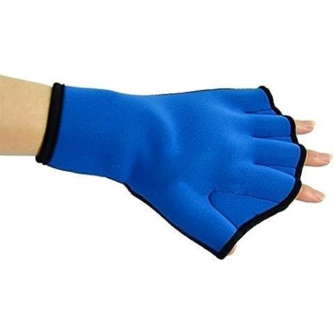 Webbed Guantes de natación para rápida Paddle Surfing Natación Aerobics Aqua Jogger, Sports entrenamiento guantes tejido sin dedos, Neopreno Azul azul