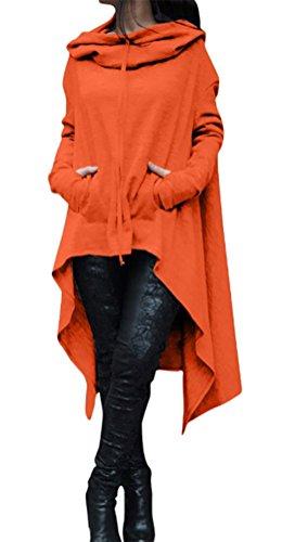 MILEEO femme veste sweater à capuche longue lache large couleur unie pulls irrégulier à manches longues Orange