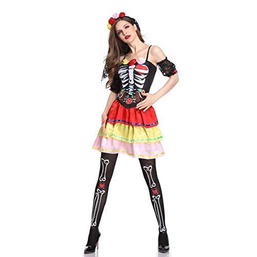 Halloween Ghost Bride Kostüm, Rose Skull Flowers Easter Ghost Festival Wunderschöne Braut Dress Up,Black,L (Mittelalterliches Bankett Kostüm)
