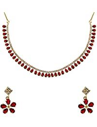 Zeneme Gold Plated Latest Design American Diamond Necklace With Earrings For Women & Girls
