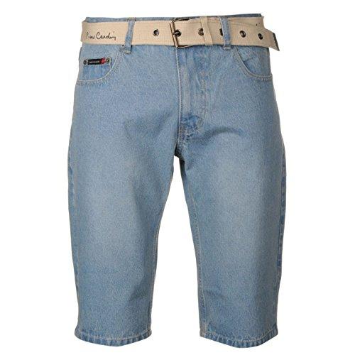 Pierre Cardin-Pantaloncini da uomo Tempo libero Denim plastica cintura da uomo Sport pantaloni pantaloncini Blu 3 L