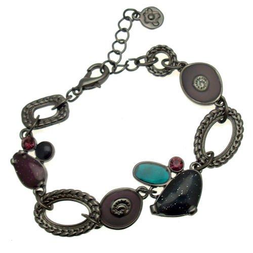 Acosta, colore: multicolore, smaltato, con cristalli, motivo: Abstract & Dainty-Braccialetto ovale