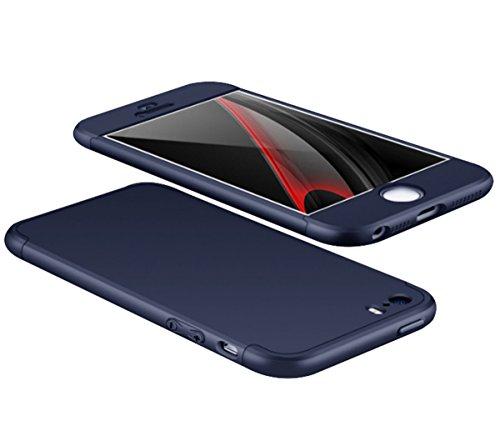 Custodia iPhone 5 5s ,360 Gradi della copertura completa 3 in 1 Hard PC Case Cover Stilosa Protettiva Bumper Antiurto Antigraffio Posteriore Copertura per iPhone SE (Nero + Rosso) blu