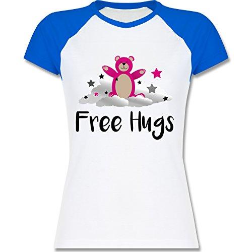 Shirtracer Comic Shirts - Free Hugs - Zweifarbiges Baseballshirt/Raglan T- Shirt für Damen