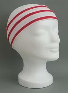 Stirnband weiss - rot gestreift für Erwachsene von Modas