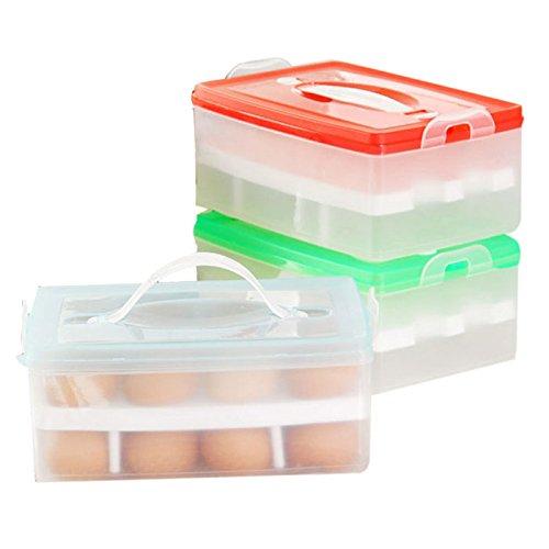 Hunpta double couche réfrigérateur Nourriture 24 oeufs Boîte de conservation hermétique Boîte en plastique