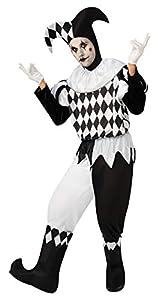 Bristol Novelty- Harlequin Male Costume (XL) Disfraz, Color blanco, negro (AC954X)
