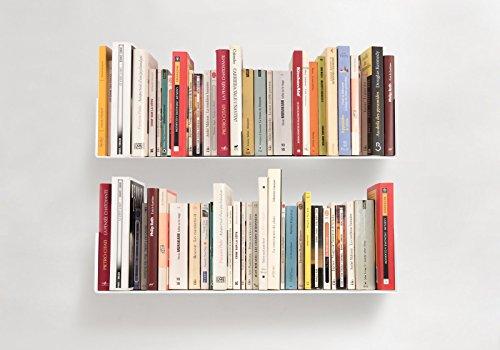 TEEbooks - Bücherregal - 2er Set - STAHL - ROT - 60x15x15cm (Bücherregal-bibliothek-wand)