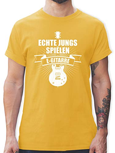 Instrumente - Echte Jungs Spielen E-Gitarre - XXL - Gelb - L190 - Herren T-Shirt Rundhals