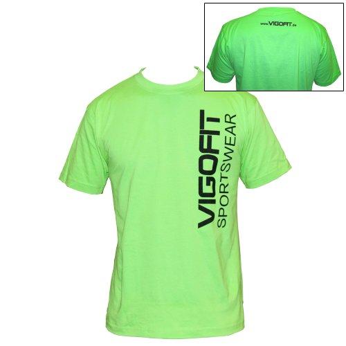 Vigofit T-Shirt in different Colors, Size S, M, L, XL 100% Coton, with Print Sportswear Logo Vert/Noir