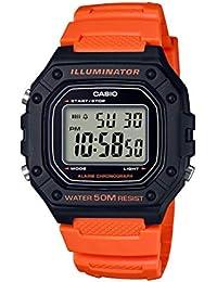 Casio - Reloj de Cuarzo clásico para Hombre, de Acero Inoxidable y Resina, Color: Naranja (Modelo: W-218H-4B2VCF)