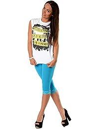 EloModa® Leggings 3/4 mit Spitze blickdicht Baumwolle Gr. S M L XL XXL 3XL, p940