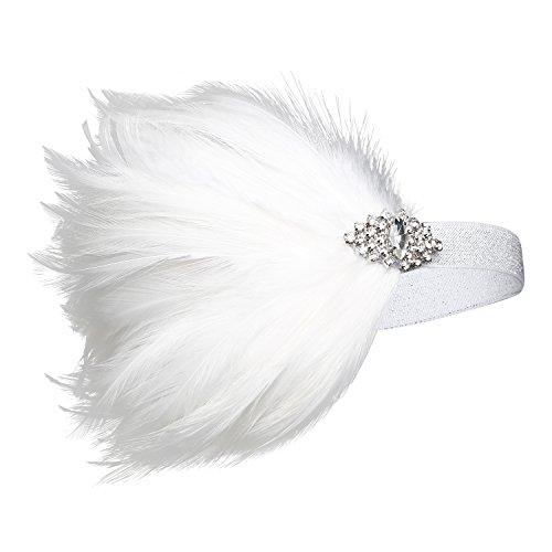 Babeyond Frauen 20er Jahre Gatsby Kopfstück Feder Flocke Kopfschmuck Kristall Stirnband Braut Weiß