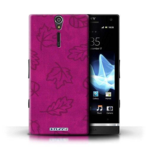 Kobalt® Imprimé Etui / Coque pour Sony Xperia S/LT26i / Bleu conception / Série Motif Feuille/Effet Textile Rose