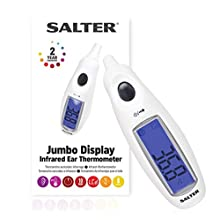 Salter Digital Medical Ear Thermometer with Jumbo Display - Highly Accurate Readings for Adult and Baby – Instant Measurement, Waterproof Probe, Fever Alarm, 10 Memories, Simple One Button Operation