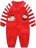 SANMIO Baby Strampler Spielanzug Jungen Mädchen Schlafanzug Baumwolle Langarm Overalls Säugling Romper Baby-Nachtwäsche (9-12 Monate, Hirsch)