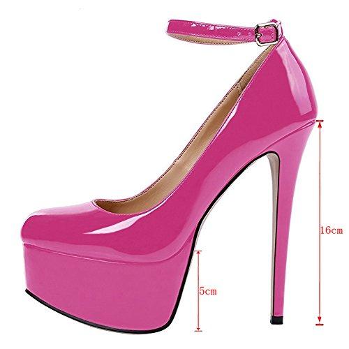 EKS Damen Round Toe Plateau Pumps Stilettos Absatz Schuhe EU 35-46 Rose