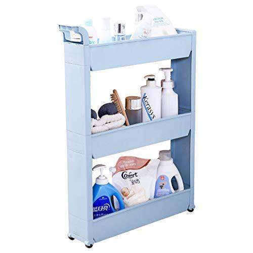 ZYL Carrito Cocina Leqi Storage Rack Baño de plástico Cocina con Acabado de la Rueda Estante de Almacenamiento Refrigerador Gabinete para sándwich de Tres Capas Macaron Azul Mueble Auxiliar Cocina