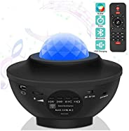 LED Star Projector Night Light 2 in 1 Starry Light Ocean Wave with Music Speaker Timer Remote Control 10 Color 360° Rotating