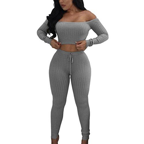 FORH Damen Mode 2 Stück Set Outfits langarm Streifen Crop Top Trägerlos T-shirt +Reizvolle Bodycon Paket Hüfte Hosen Beiläufig Outfit Sport bekleidung (S, Grau)