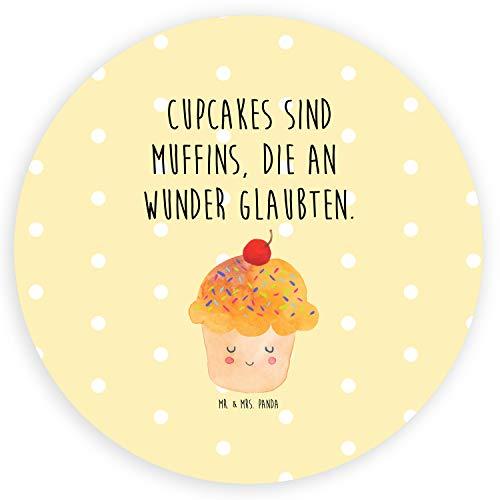 kleber, Etikett, 40mm Rund Aufkleber Cupcake mit Spruch - Farbe Gelb Pastell ()