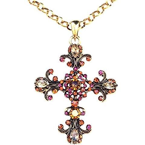 Victoriano Gran Cruz con cristales dorado antiguo collar con colgante